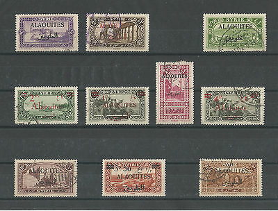 Syria, 10 Used ALAOUITES Stamps.