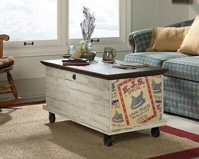 Sauder Eden Rue Rolling Storage Chest with White Plank Finish. Perfect for Condo