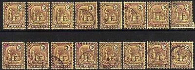 St. Vincent: 1909 3d shades (16) SG 106 used