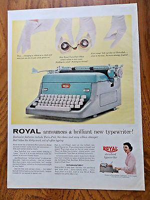 1957 Royal Portables Typewriter Ad Brilliant New Features Twin-Pak