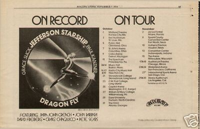 "1974 Jefferson Starship ""dragon Fly"" Album Tour Ad"