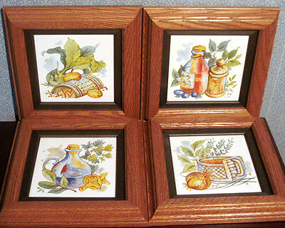 SET OF FOUR FRAMED TILES WITH KITCHEN THEME (custom made)