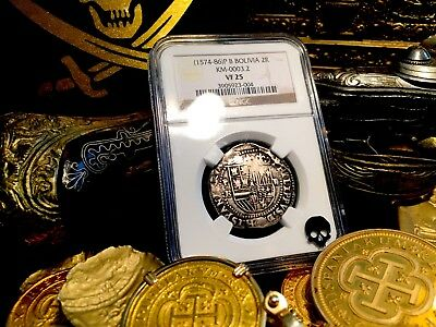 "BOLIVIA POTOSI 2 REALES 1574-86 NGC-25 ""FIRST YEAR ISSUE for Mint!"" RARE SILVER"