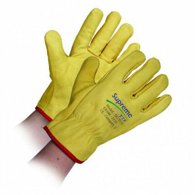 10 Pairs Soft Leather Driver Work Gloves Cow Grain Lorry Drivers Gloves DIY
