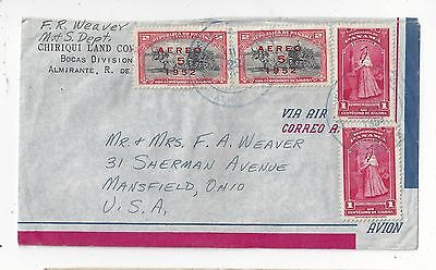 Panama 1954 Airmail Covert to US, Nice Mix with Surcharges