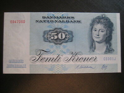 DENMARK 1972-79 ISSUE - 50 KRONER P50i DATED 1990  -  UNCIRCULATED
