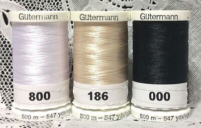 3 NEW Different GUTERMANN 100% polyester embroidery thread 547 yards Spools
