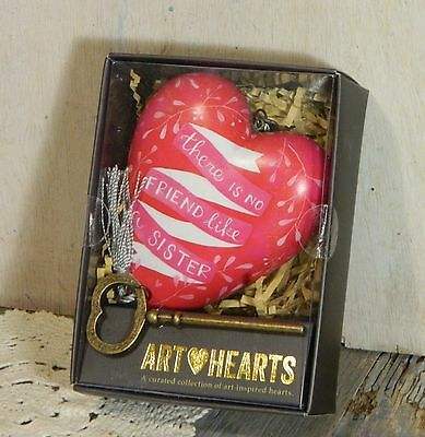 Art Hearts/Ornament/Sculpted Figurine/SISTERS/Red/With Key/DemDaco/Collectible
