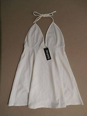 488f81efdbb5 Boohoo Women's Tara Plunge Front Backless Skater Dress Ivory Size US 8 LL1  NWT