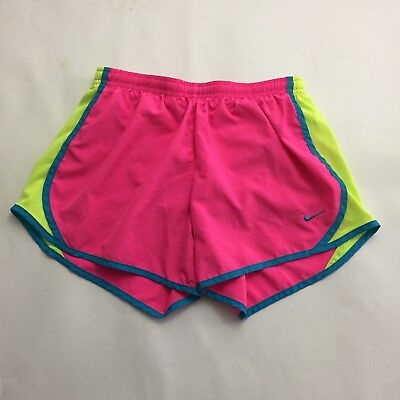 Nike Dri Fit Athletic Running Tempo Shorts Large Built in Underwear Pink Blue