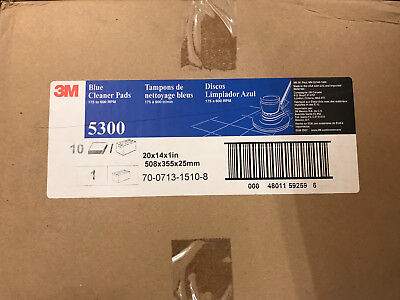 "(Pack of 10) 3M 5300 Blue Cleaner Pads 20"" x 14"" x 1"" Brand New"