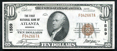 1929 $10 The First Nb Of Atlanta, Ga National Currency Ch. #1559 Unc