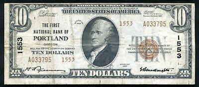 1929 $10 Tyii The First Nb Of Portland, Or National Currency Ch. #1553