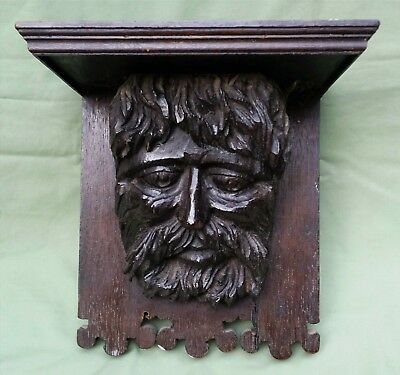 Large Gothic Medieval style carved Oak Bracket of a Bearded Man, Green Man
