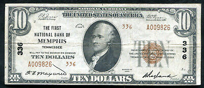 1929 $10 Tyii The 1St National Bank Of Memphis, Tn National Currency Ch. #336