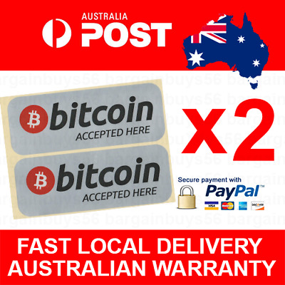 2pcs Waterproof High Quality Bitcoin Accepted Here Sticker Retail Shop Decals