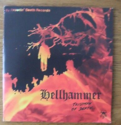 """HELLHAMMER..TRIUMPH OF DEATH....RARE DEATH METAL 2 x 7""""..UNOFFICIAL..REPRESS"""