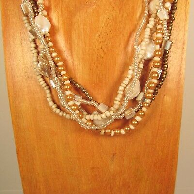 """18"""" Natural Color Mother of Pearl Shell Handmade Seed Bead Statement Necklace"""