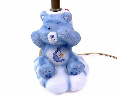 Vintage Care Bears Bedtime Bear Table Lamp Light Base Blue Ceramic Sleep 80s