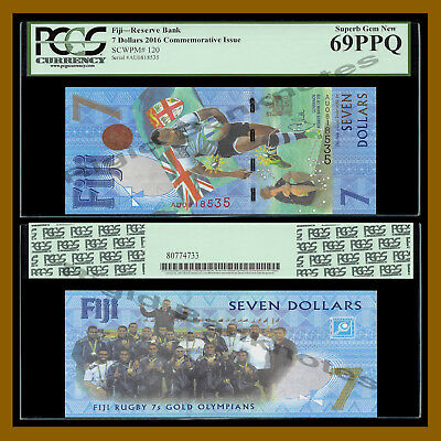 Fiji 7 Dollars, 2016 P-120 New Rugby 7s Gold Olympic Polymer PCGS 69 PPQ