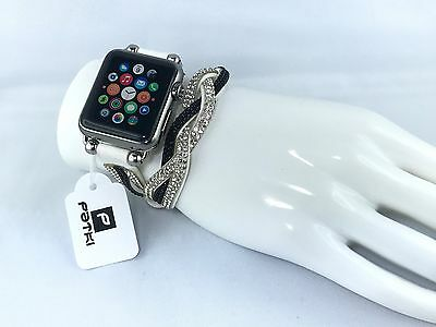 Exclusives Handmade Armband mit Strass für Apple Watch ( 38mm ) Serie 1 / 2 / 3