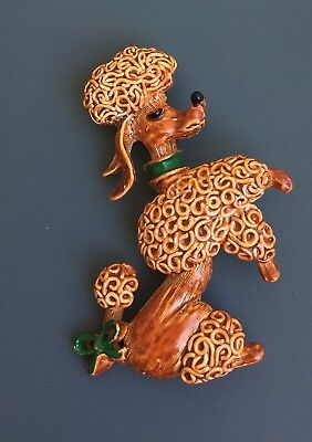 Vintage Signed Gerry's Figural Poodle Brooch/Pin In Enamel On  Metal