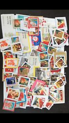 100 Unfranked First Class Stamps On Paper xmas designs mix