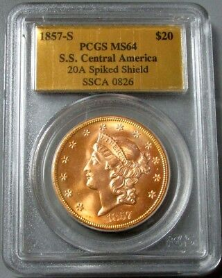 1857 S Gold $20 Double Eagle Ss Central America Gold Label Pcgs Mint State 64