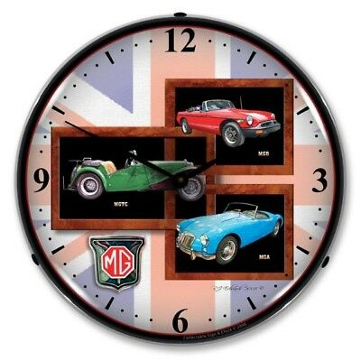 Retro Nostalgic MG MGB MGA MGTC Game Room Man Cave Backlit Lighted Wall Clock