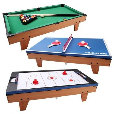 3 In 1 Indoor Hockey Tennis Foosball Pool Table Billiard Swivel Home Toy  Game US