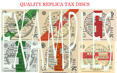 "Tax Discs' 6 Quality Replicas"" For  Discerning Owners.all Years From 1921-2020:>"