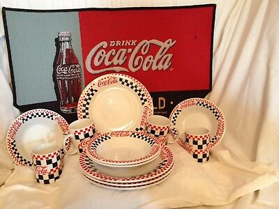 Coca Cola 12-Piece Dinner Set 1996 Gibson Checkered  Black  Red And White