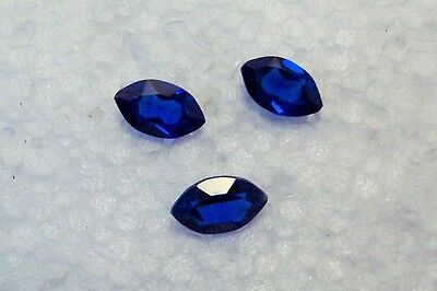 lab created 3  blue  sapphire 5x8 marquise  very clean gemstones  carat 2.30