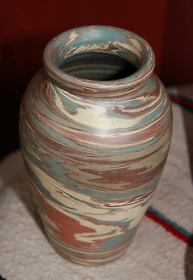 "VINTAGE NILOAK ART POTTERY MISSION SWIRL ""MISSIONWARE"" VASE - SATIN FINISH 1930s"