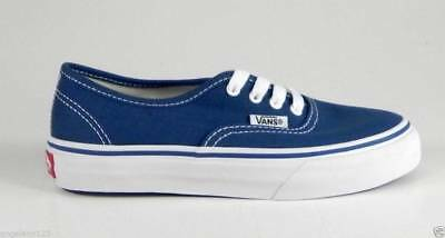 Vans Authentic Youths Children Kids Boys Girls Navy Bluve White Canvas Shoes