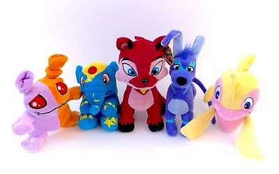 NWT Neopets Plush Lot Red Ixi Starry Elephante Electric Gelert Plush Keyquest