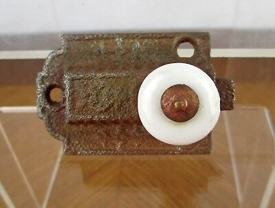 VTG Weathered Iron Metal Spring Slide Cabinet Window Latch with Porcelain Knob