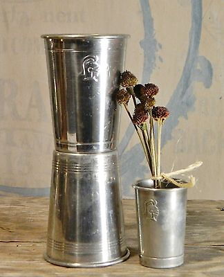 Vtg/Aluminum/Tumblers/Silver Cup/Vase/Embossed Knight/Shabby Cottage/BoHo Chic/3