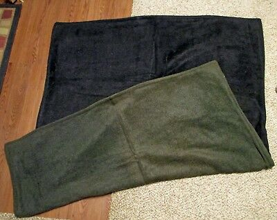 "Vintage Antique Green and Black Horse Hair Carriage Lap Blanket - 65"" x 52"""