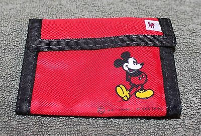 Vintage Disney Mickey Mouse Red Fold Over Wallet By Fox W/ Keychain Inside