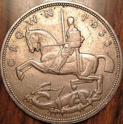 1935 Uk Gb Great Britain Silver Crown Best Of Circulated Condition !