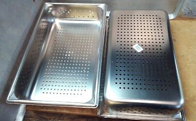 """2 Full Size Perforated Stainless Steel Steam Table Pans 4"""" Deep"""