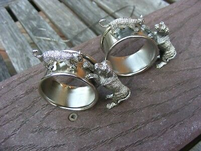 Rare Lot Of 2 Dog And Cat Silverplate Napkin Rings Silverplate Napkin Rings