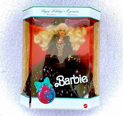 1991 Barbie Special Edition Happy Holidays Green Velvet Dress NEW IN BOX Blonde