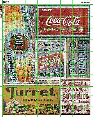 1002 Dave's Decals Cigars Gulf Tobacco Gas Beer Building Signs Advertising