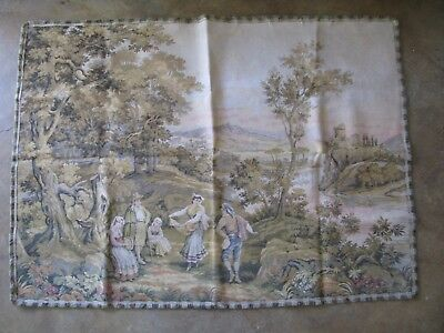 Antique Textile French Country Tapestry Lovers Scene 58x42 Made in FRANCE