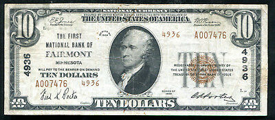 1929 $10 Tyii The First Nb Of Fairmont, Mn National Currency Ch. #4936