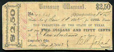 1862 $2.50 Treasury Warrant Austin, Tx Obsolete Banknote