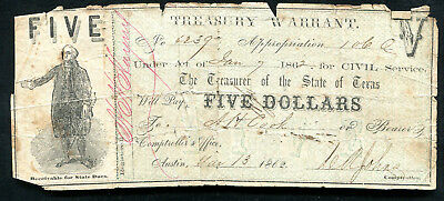 1862 $5 Treasury Warrant Austin, Tx Obsolete Banknote