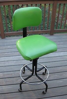 Vintage Green Drafting Chair Adjustable Swivel Seat 4 Casters Black & Chrome